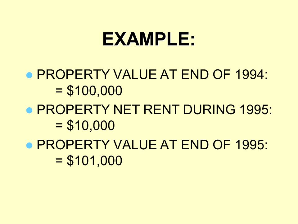 EXAMPLE: PROPERTY VALUE AT END OF 1994: = $100,000