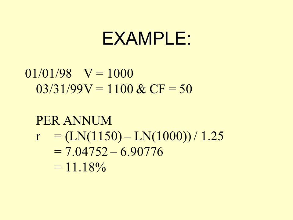 EXAMPLE: 01/01/98 V = 1000 03/31/99 V = 1100 & CF = 50 PER ANNUM r = (LN(1150) – LN(1000)) / 1.25 = 7.04752 – 6.90776 = 11.18%