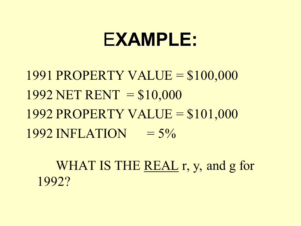 EXAMPLE: 1991 PROPERTY VALUE = $100,000 1992 NET RENT = $10,000