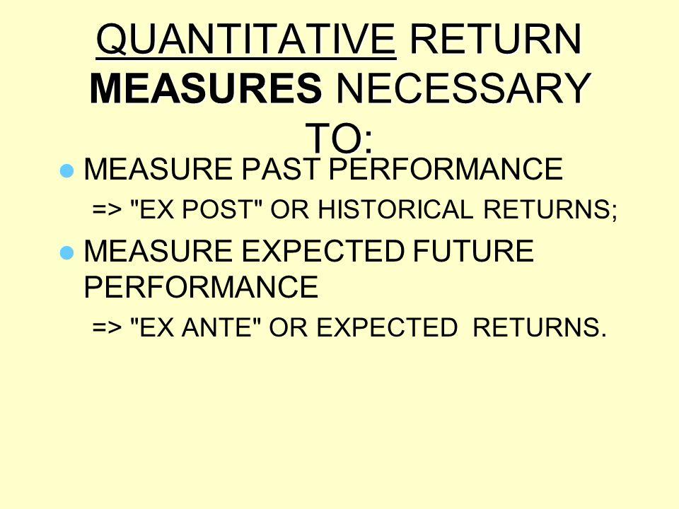 QUANTITATIVE RETURN MEASURES NECESSARY TO: