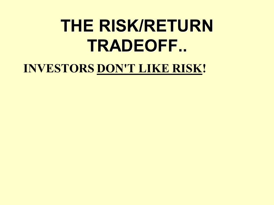 THE RISK/RETURN TRADEOFF..