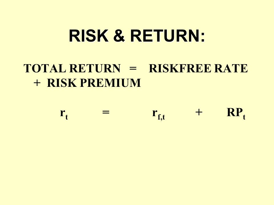 RISK & RETURN: TOTAL RETURN = RISKFREE RATE + RISK PREMIUM rt = rf,t + RPt.