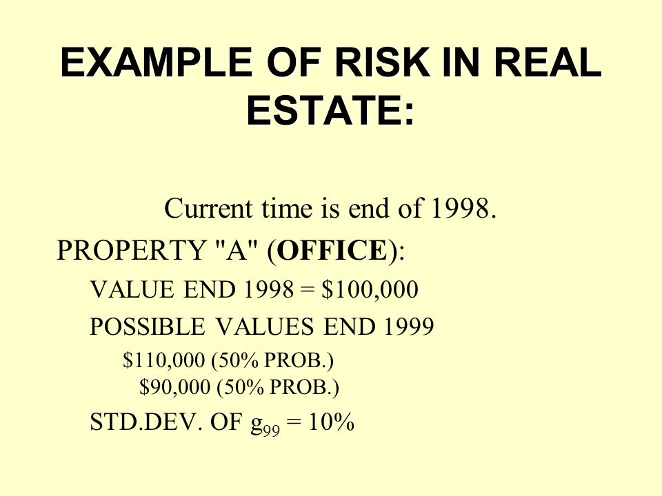 EXAMPLE OF RISK IN REAL ESTATE:
