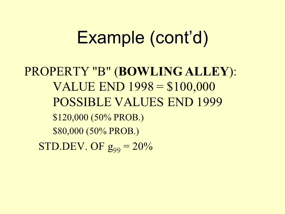 Example (cont'd) PROPERTY B (BOWLING ALLEY): VALUE END 1998 = $100,000 POSSIBLE VALUES END 1999.
