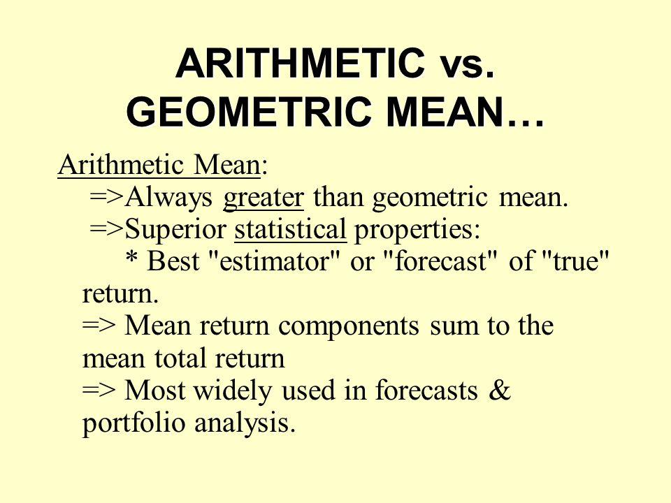 ARITHMETIC vs. GEOMETRIC MEAN…
