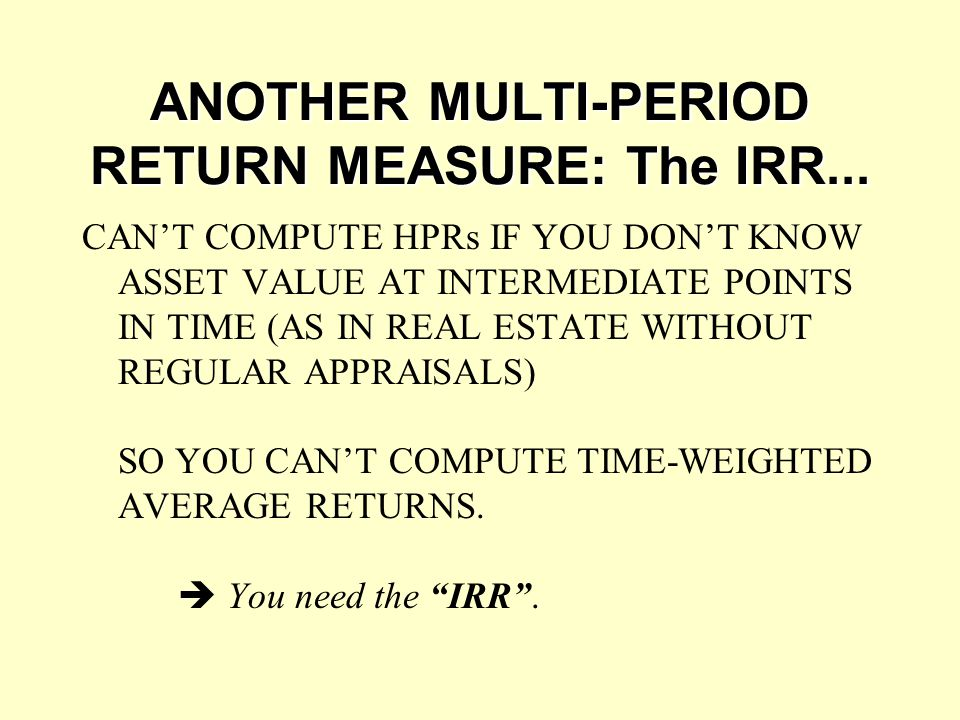 ANOTHER MULTI-PERIOD RETURN MEASURE: The IRR...