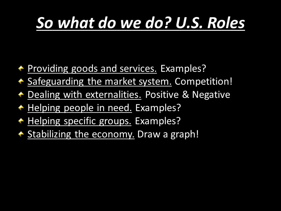 So what do we do U.S. Roles Providing goods and services. Examples