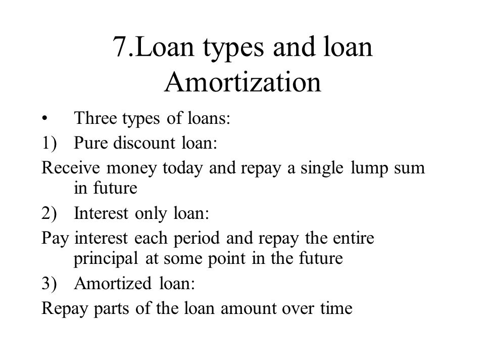 7.Loan types and loan Amortization