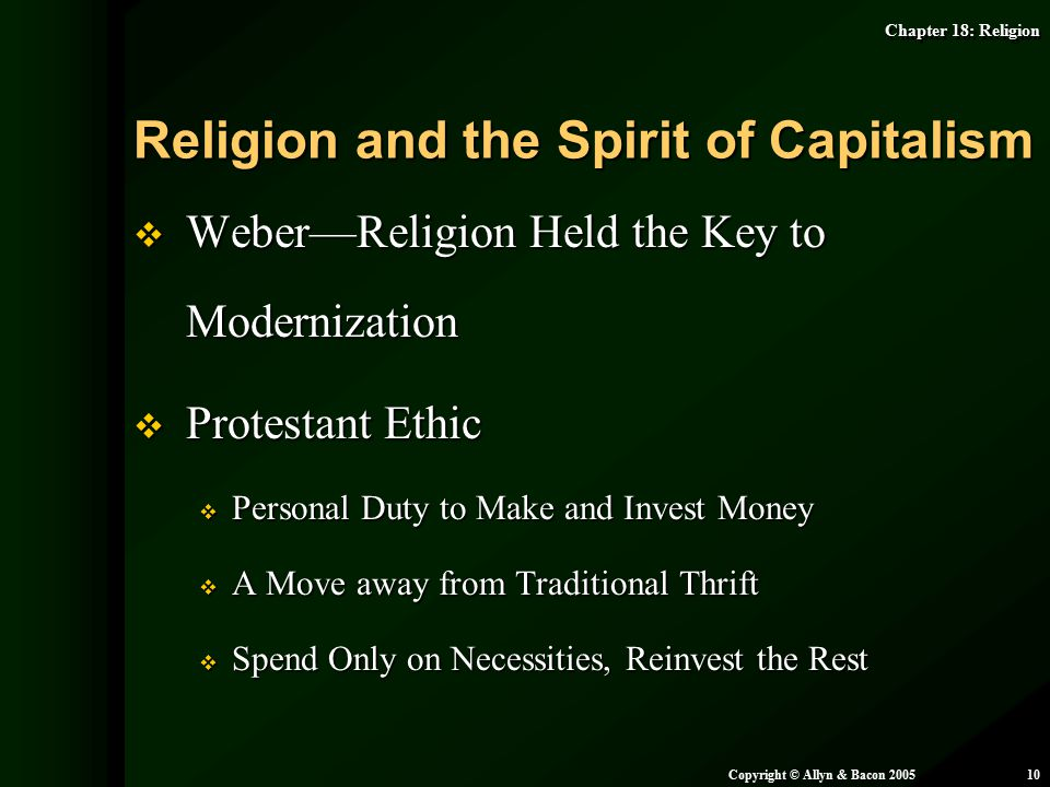 Religion and the Spirit of Capitalism
