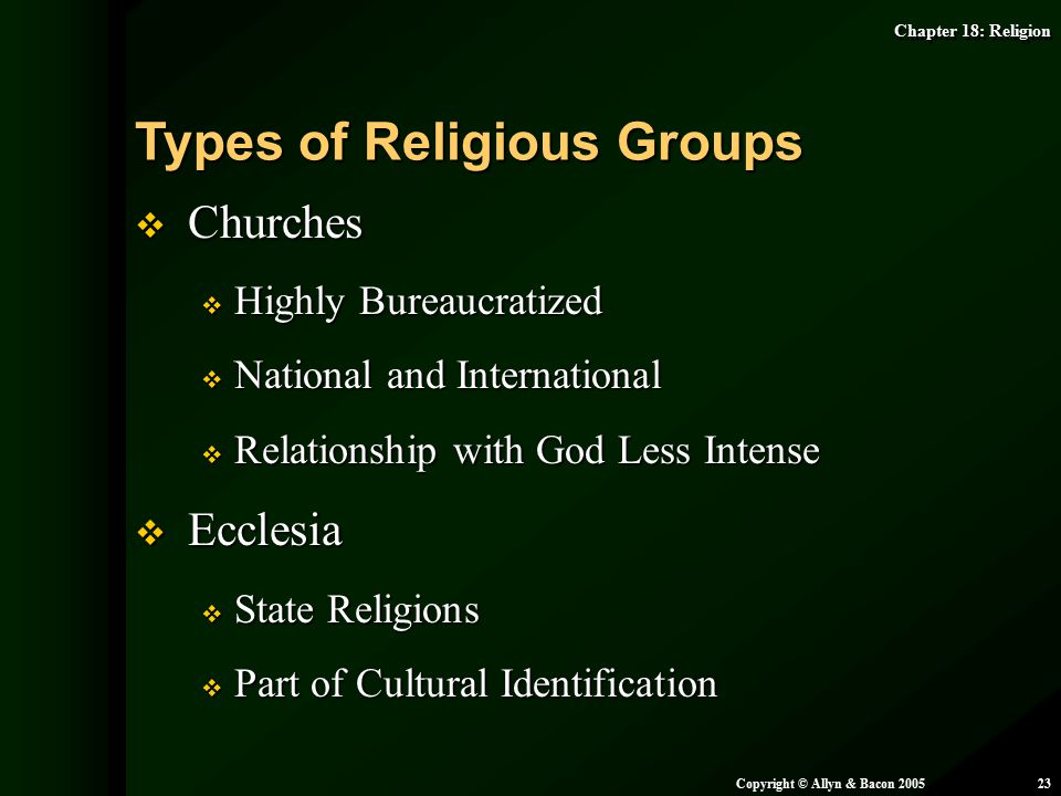 Types of Religious Groups