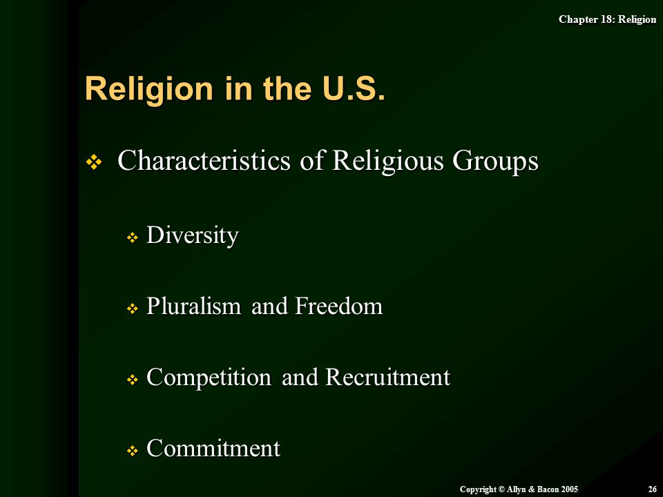 Religion in the U.S. Characteristics of Religious Groups Diversity