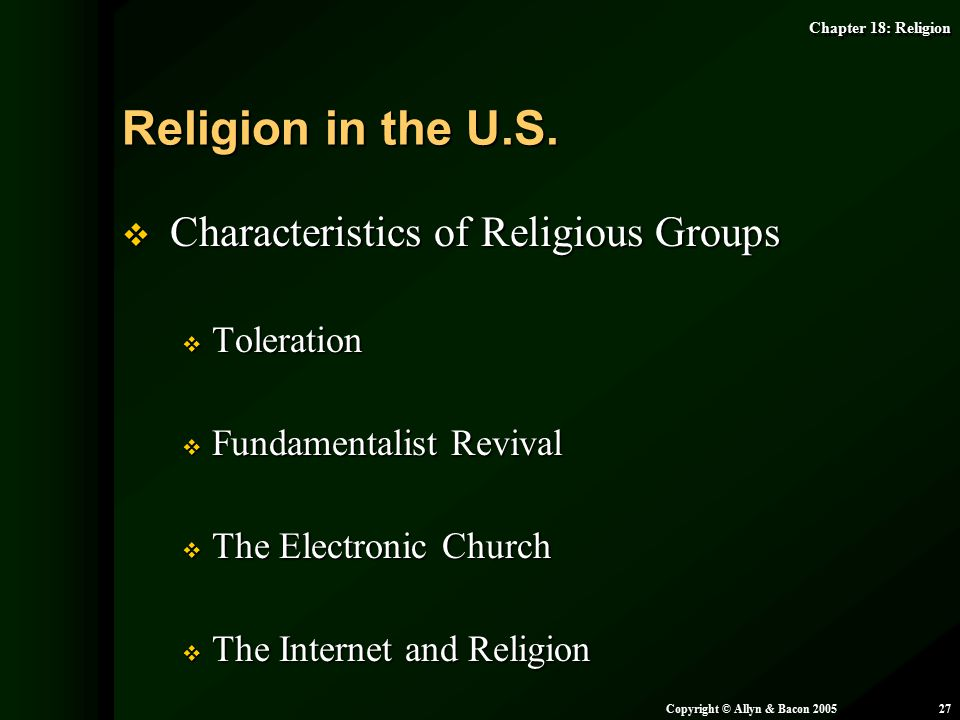 Religion in the U.S. Characteristics of Religious Groups Toleration