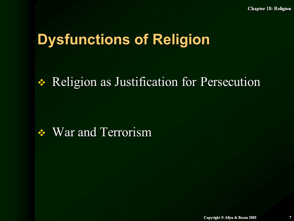 Dysfunctions of Religion