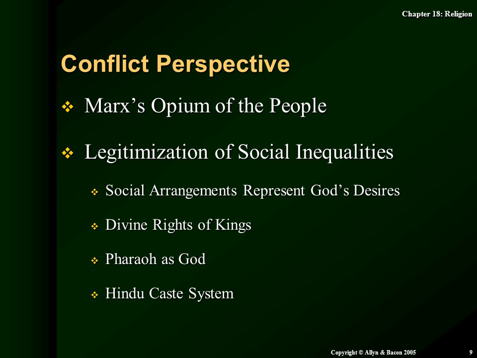 Conflict Perspective Marx's Opium of the People