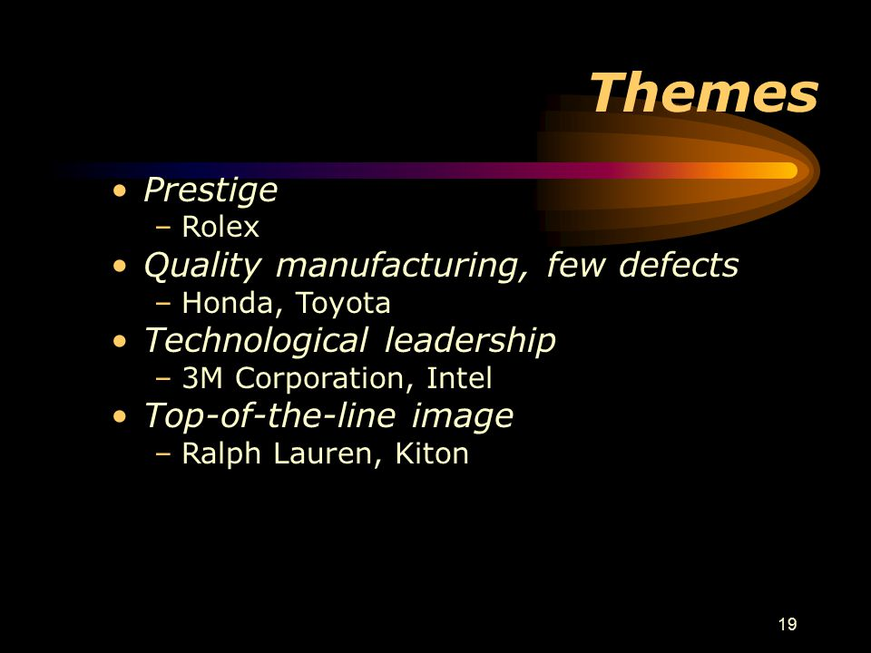 Themes Prestige Quality manufacturing, few defects