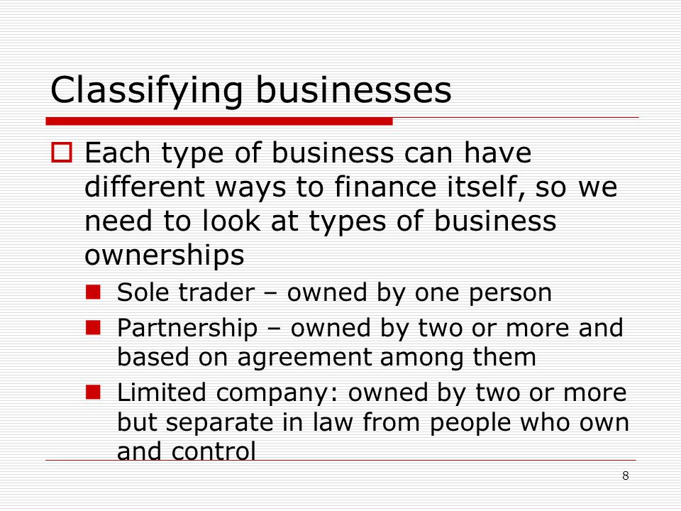 Classifying businesses