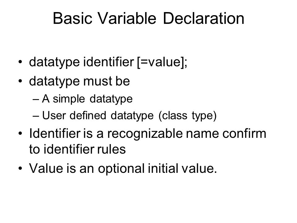Basic Variable Declaration