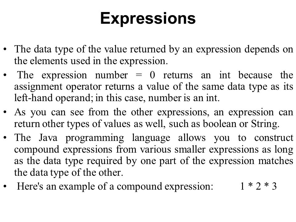 Expressions The data type of the value returned by an expression depends on the elements used in the expression.