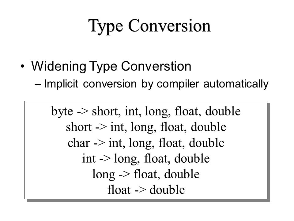 Type Conversion Widening Type Converstion