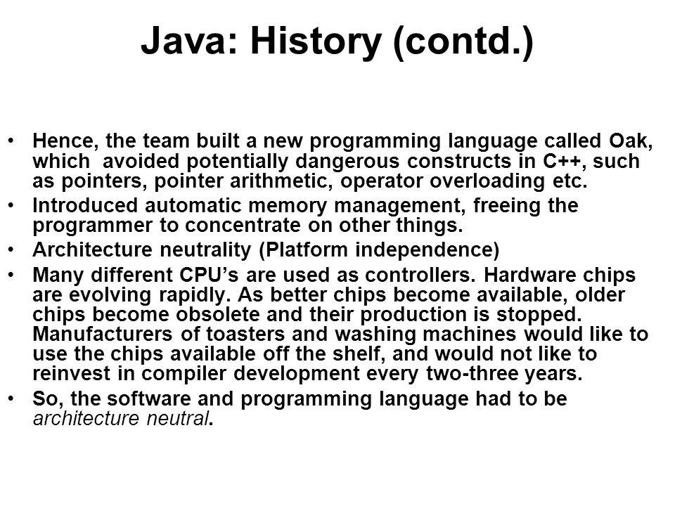 Java: History (contd.)