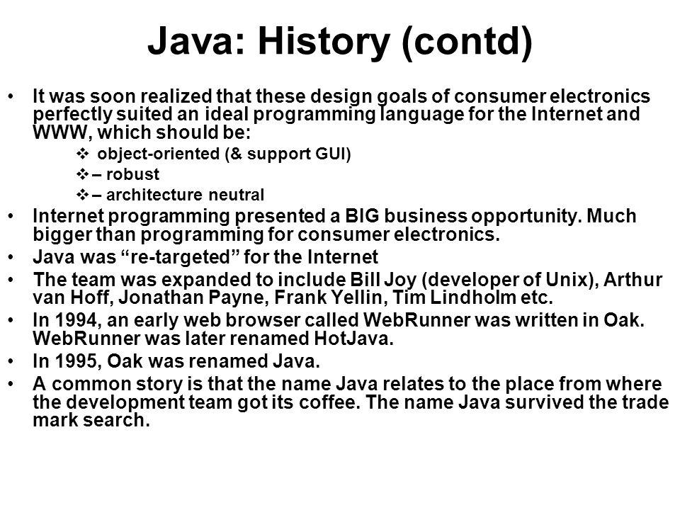Java: History (contd)