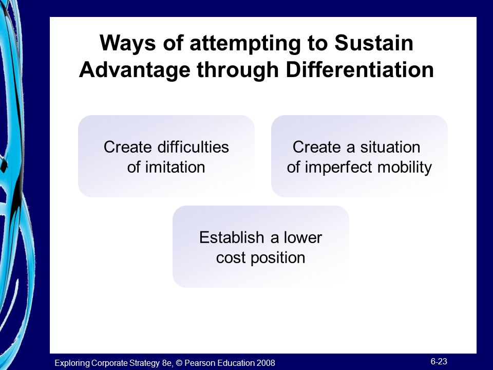 Ways of attempting to Sustain Advantage through Differentiation