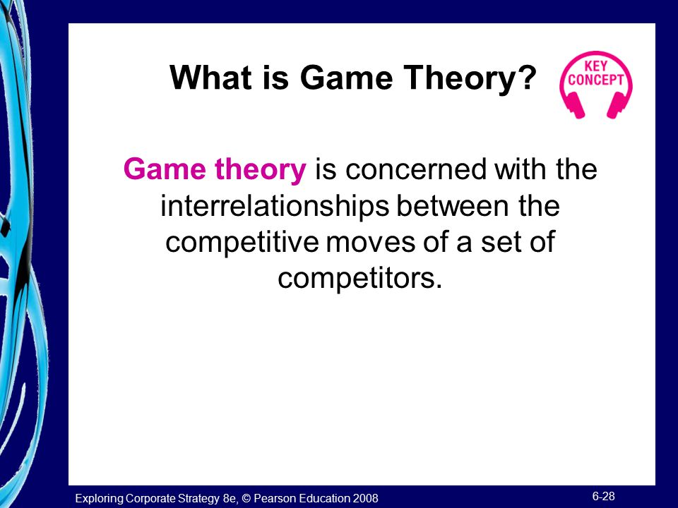 What is Game Theory Game theory is concerned with the interrelationships between the competitive moves of a set of competitors.