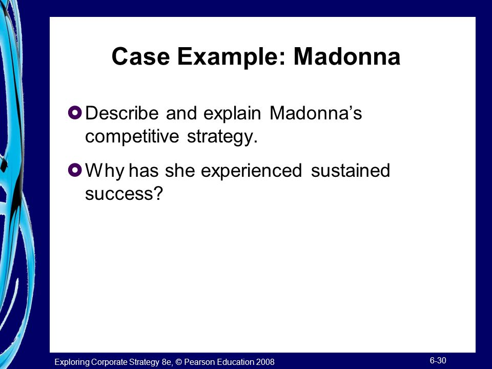 Case Example: Madonna Describe and explain Madonna's competitive strategy. Why has she experienced sustained success