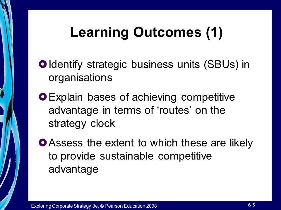 Learning Outcomes (1) Identify strategic business units (SBUs) in organisations.