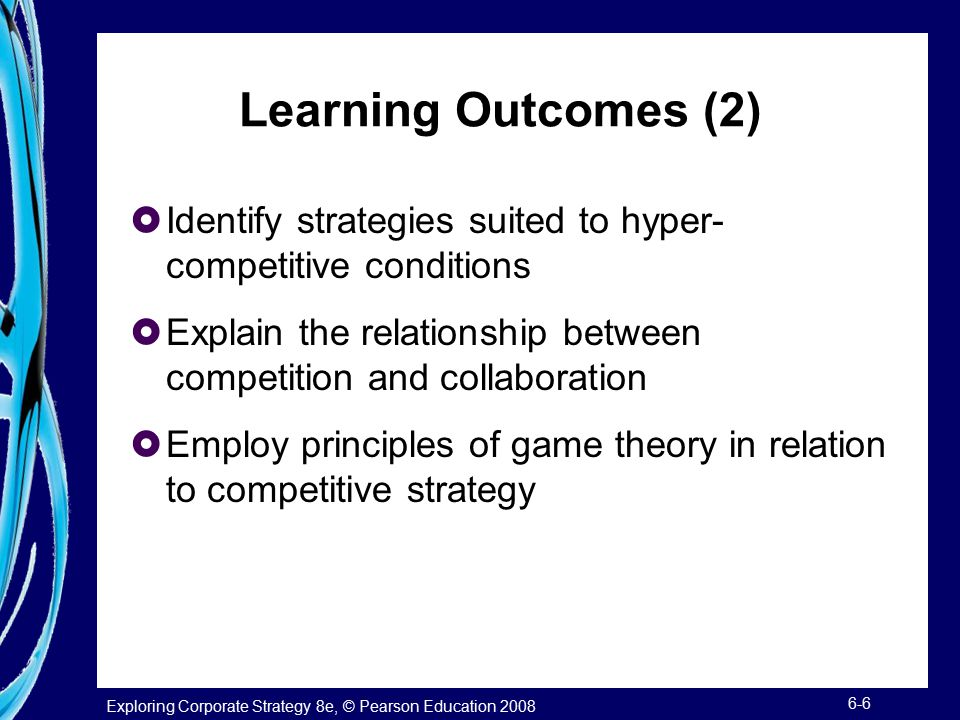 Learning Outcomes (2) Identify strategies suited to hyper-competitive conditions. Explain the relationship between competition and collaboration.