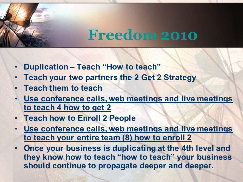 Freedom 2010 Duplication – Teach How to teach