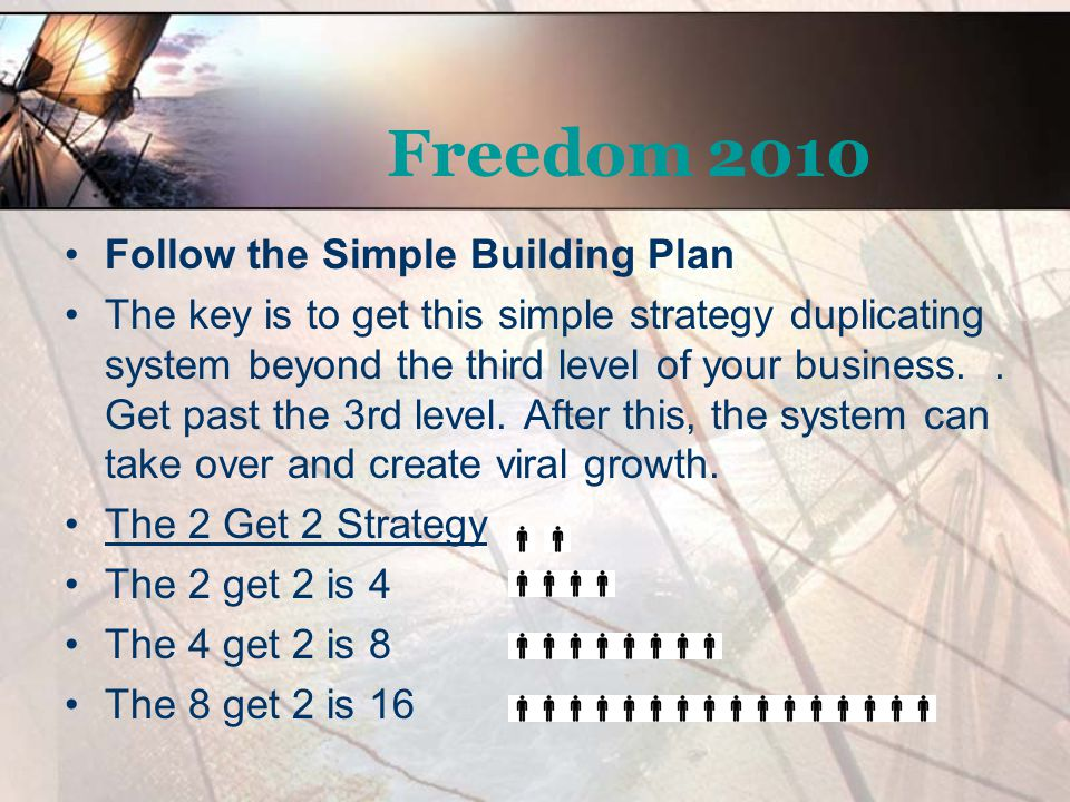 Freedom 2010 Follow the Simple Building Plan