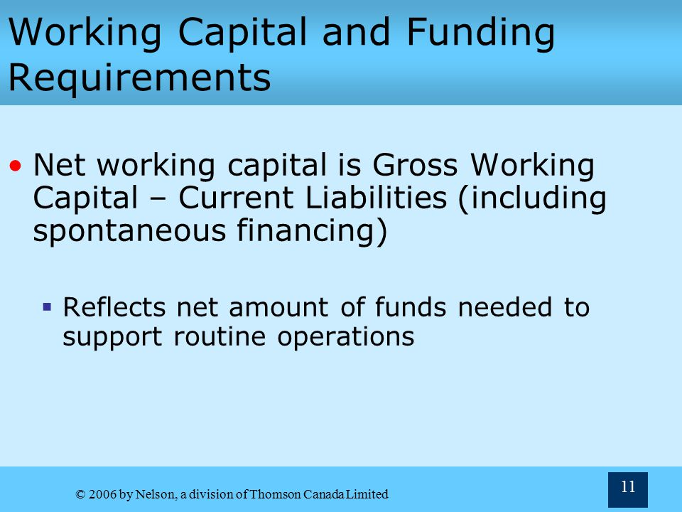 Working Capital and Funding Requirements