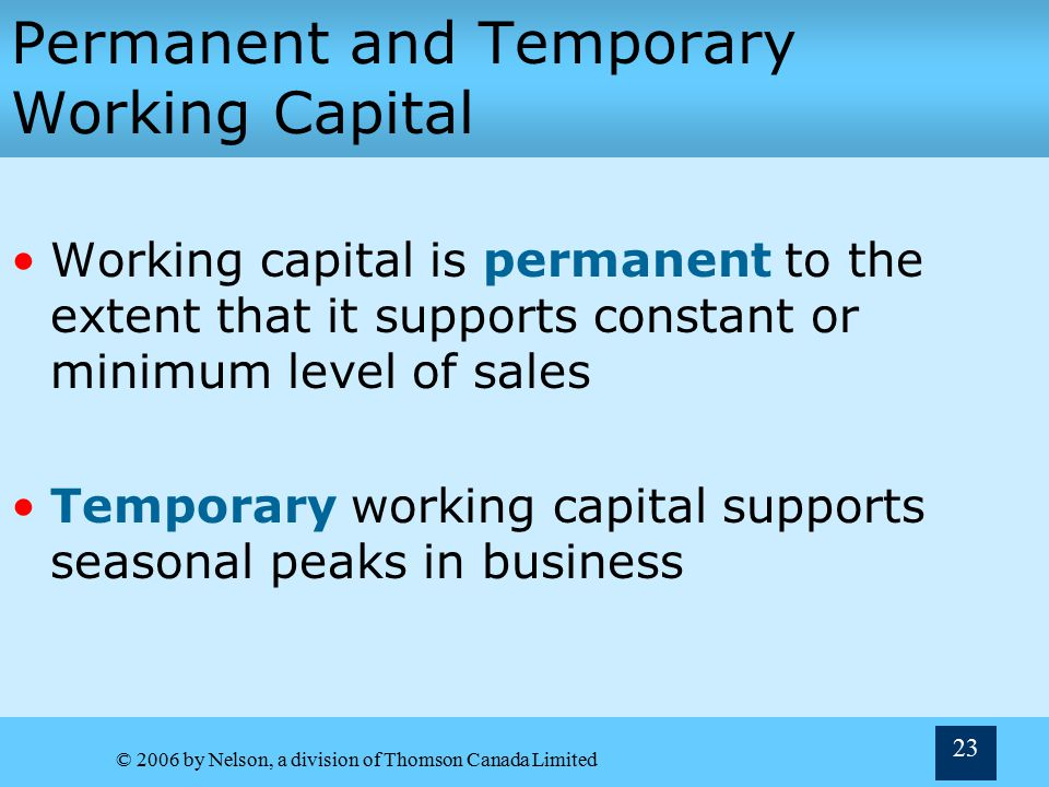 Permanent and Temporary Working Capital