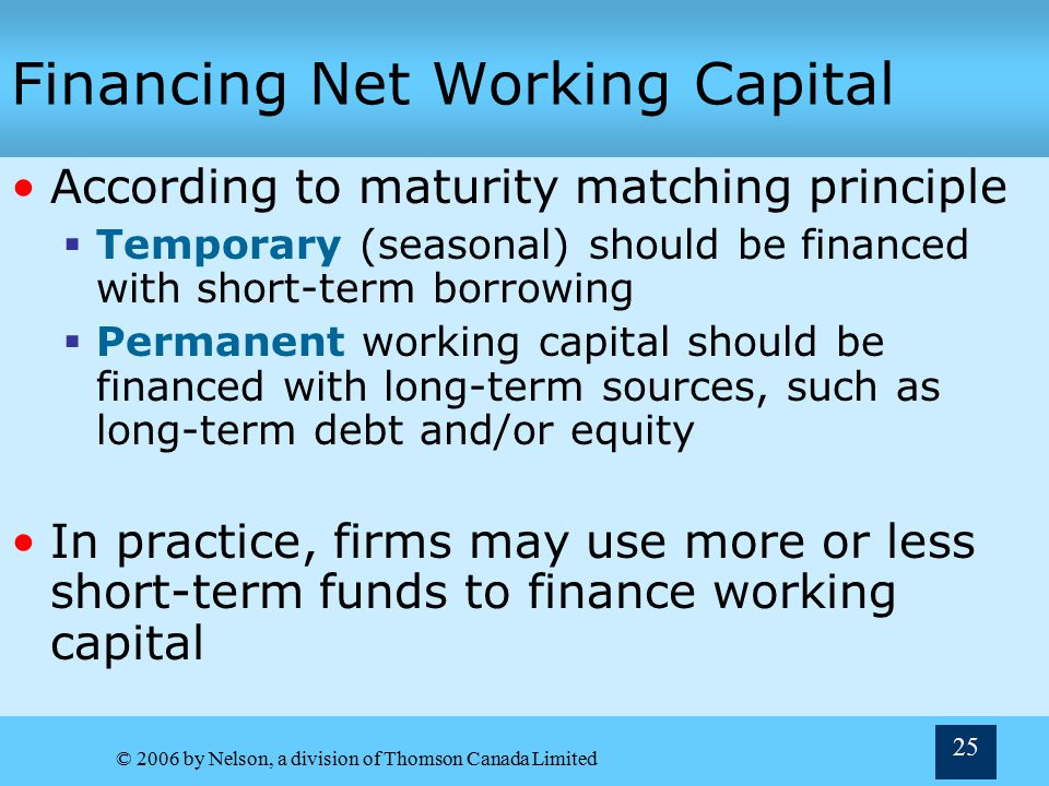 Financing Net Working Capital
