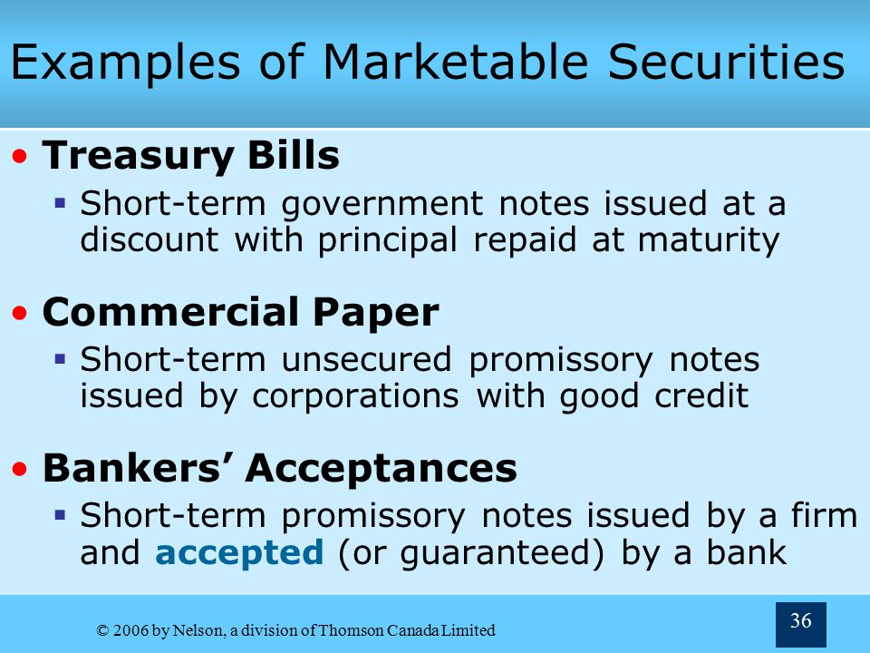 Examples of Marketable Securities