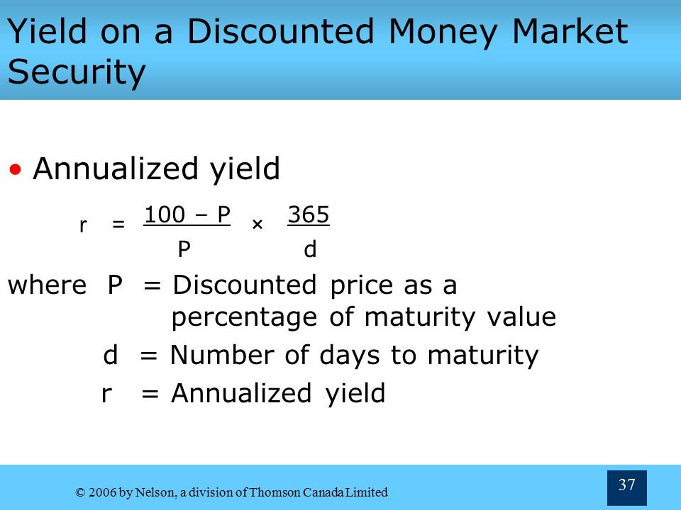 Yield on a Discounted Money Market Security