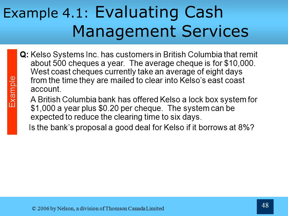 Example 4.1: Evaluating Cash Management Services