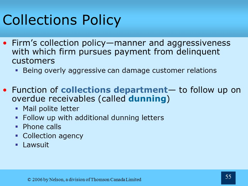 Collections Policy Firm's collection policy—manner and aggressiveness with which firm pursues payment from delinquent customers.