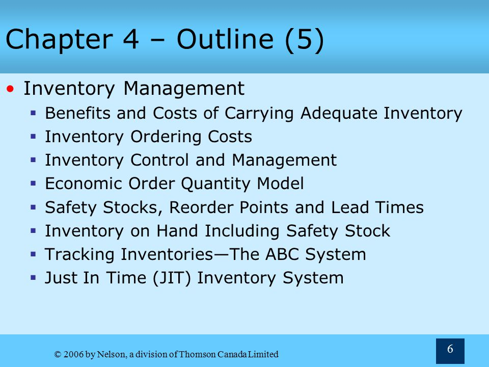 Chapter 4 – Outline (5) Inventory Management