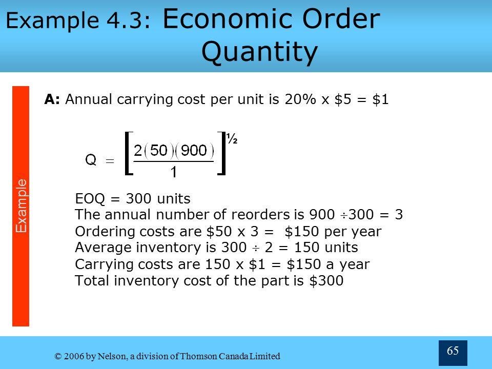 Example 4.3: Economic Order Quantity