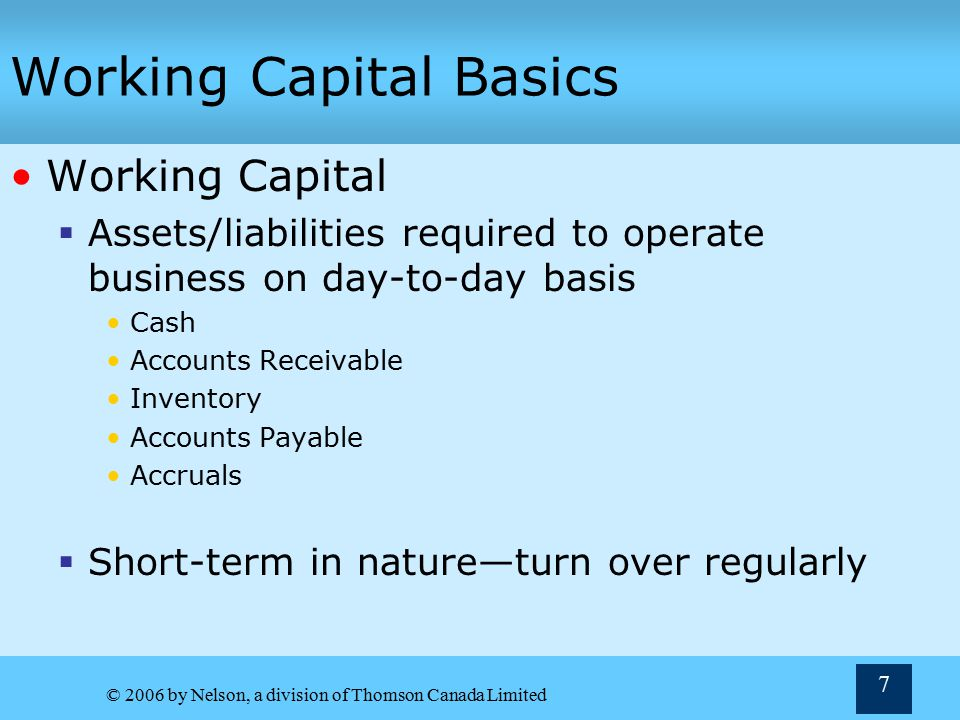 Working Capital Basics