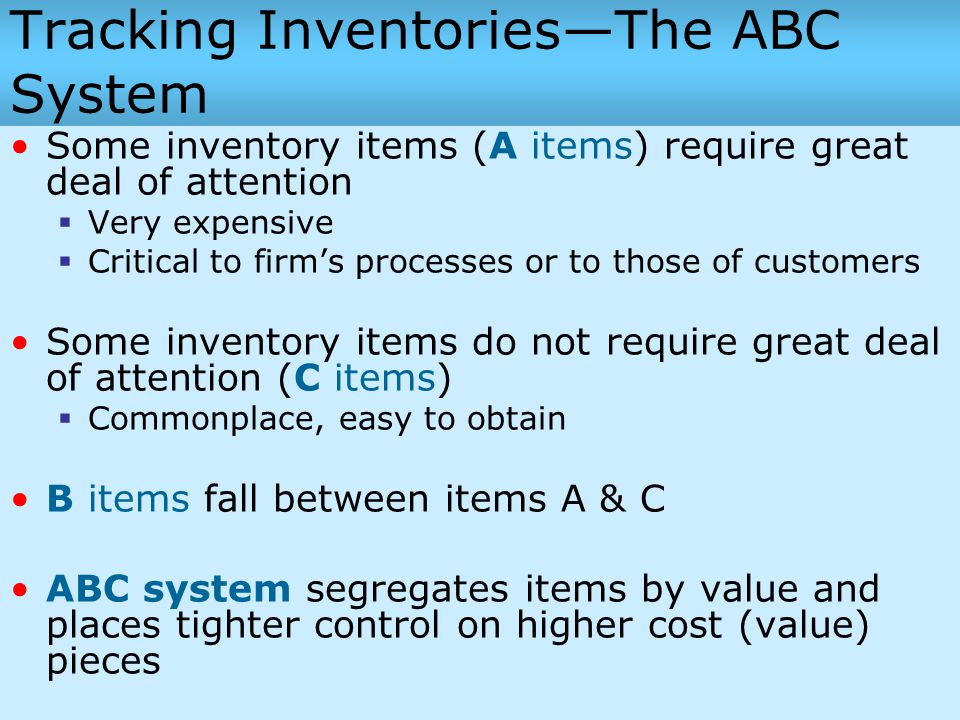 Tracking Inventories—The ABC System