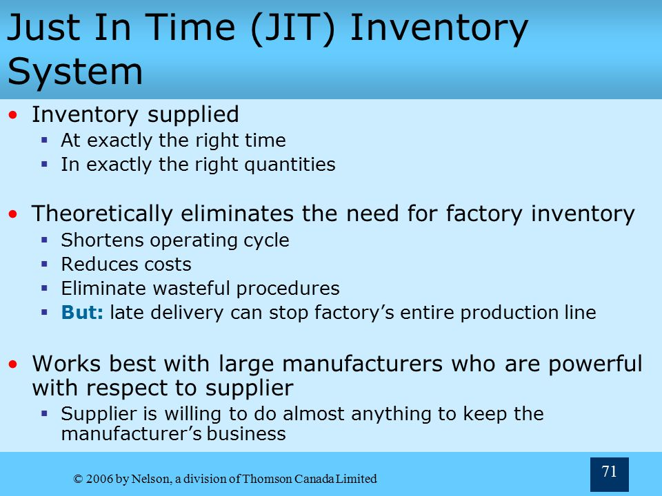 Just In Time (JIT) Inventory System