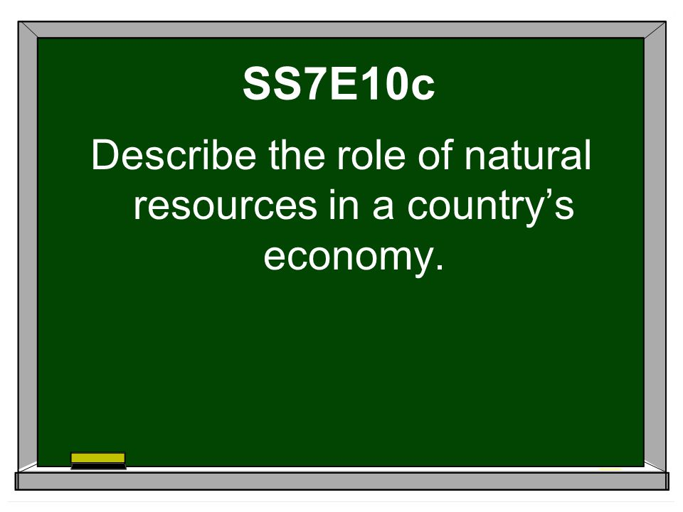 Describe the role of natural resources in a country's economy.