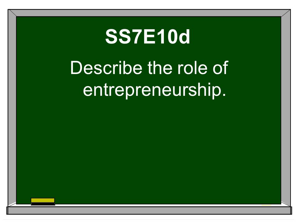 Describe the role of entrepreneurship.