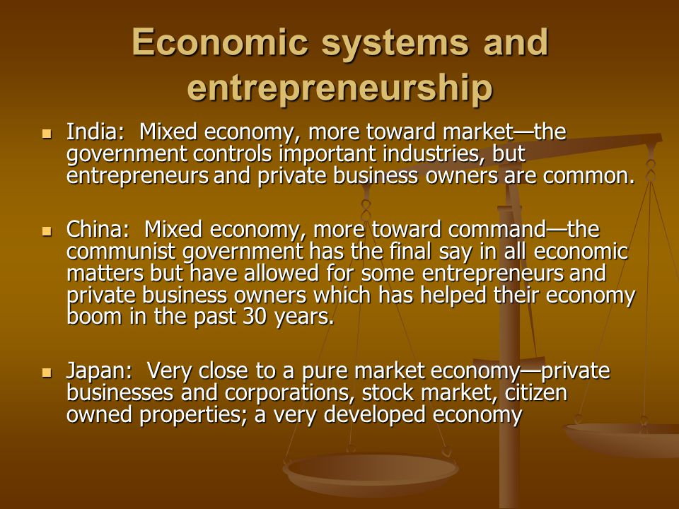 Economic systems and entrepreneurship