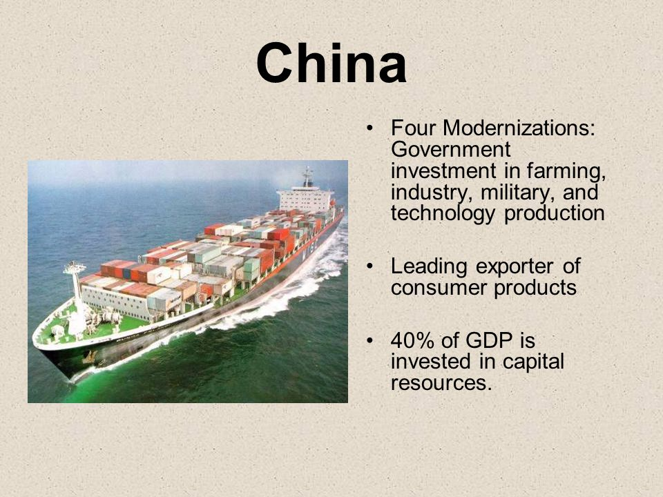 China Four Modernizations: Government investment in farming, industry, military, and technology production.