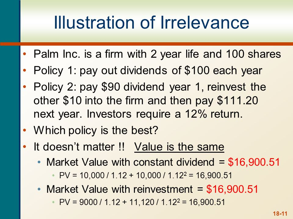 an example of dividend policy irrelevance A central question regarding the firm's dividend policy is therefore whether the  dividend policy  in a perfect capital market the dividend policy is irrelevant.