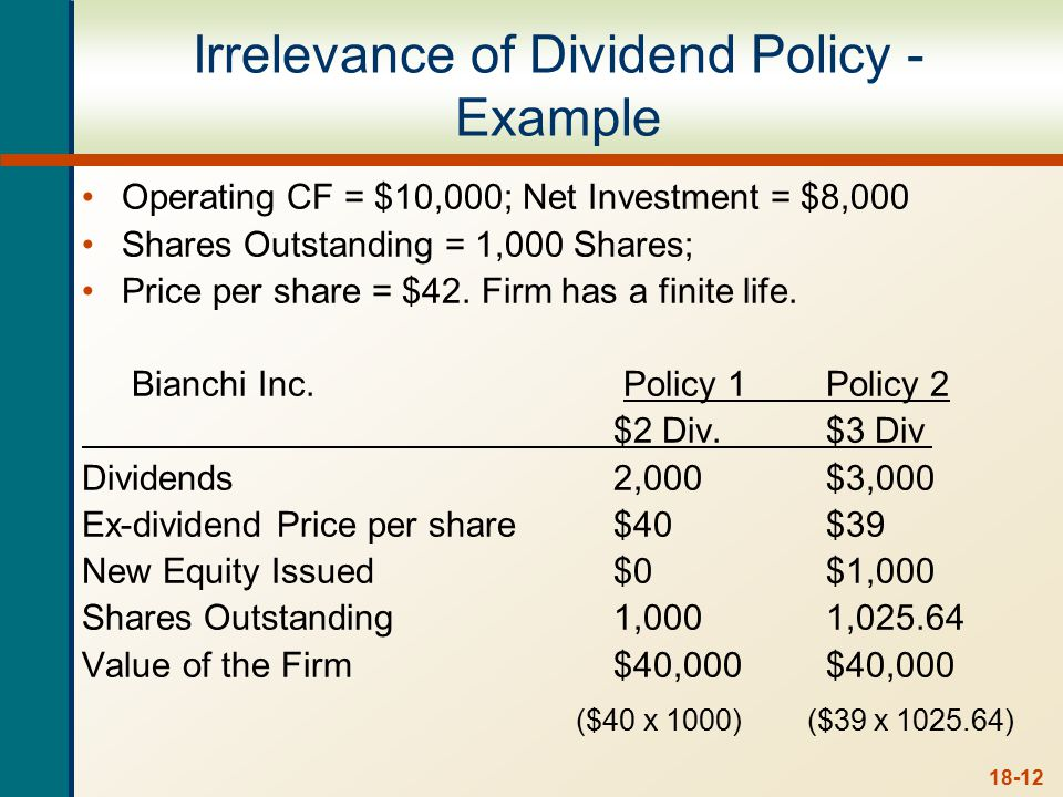 Homemade Dividend Policy